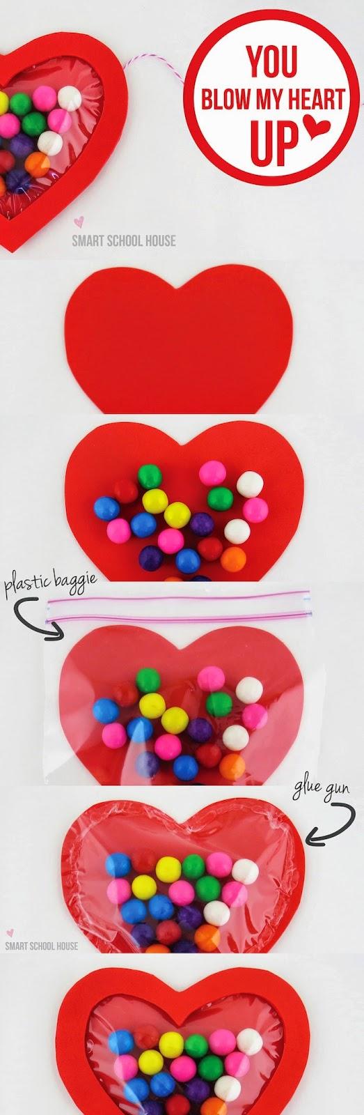 Corazón dulce con chicles para san valentín