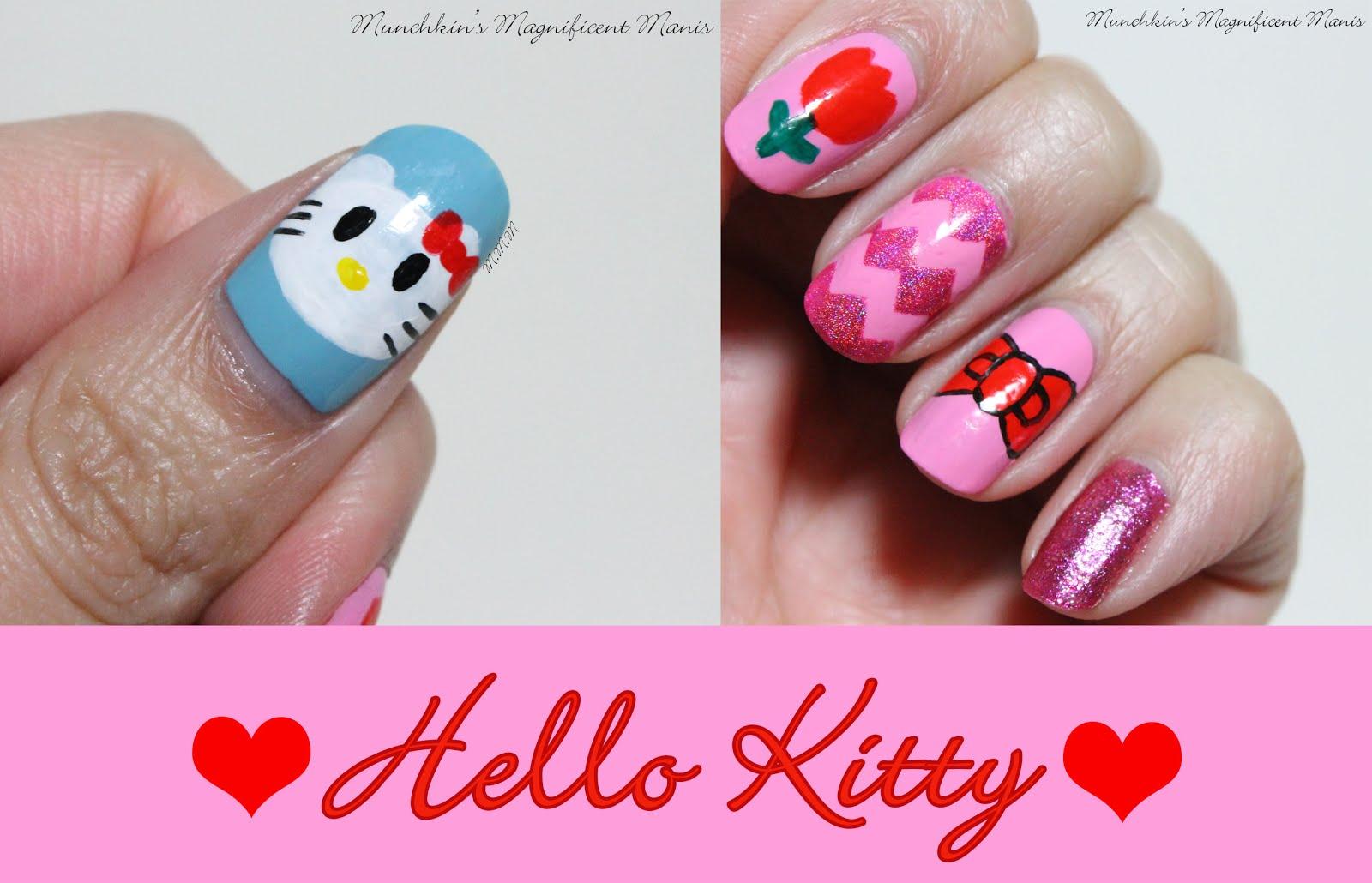 Munchkins Magnificent Manis Hello Kitty Nail Design
