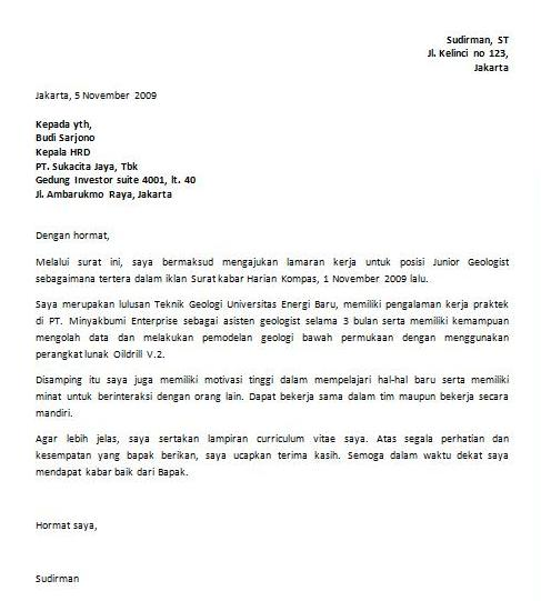 Contoh Surat Lamaran Pekerjaan Hal Kepada Yth