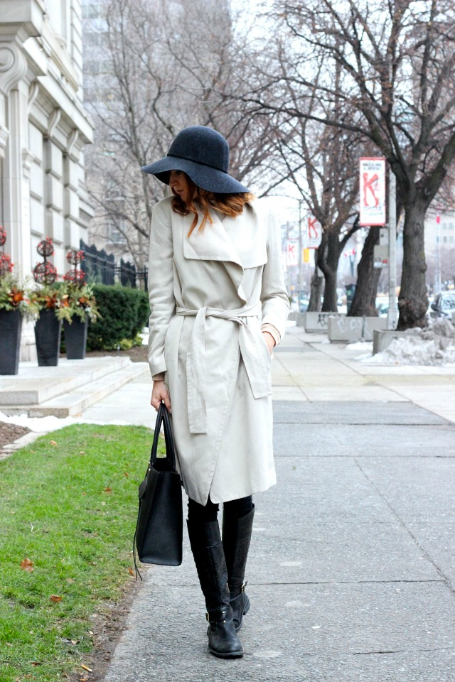 Club Monaco trench; black and beige classic combo