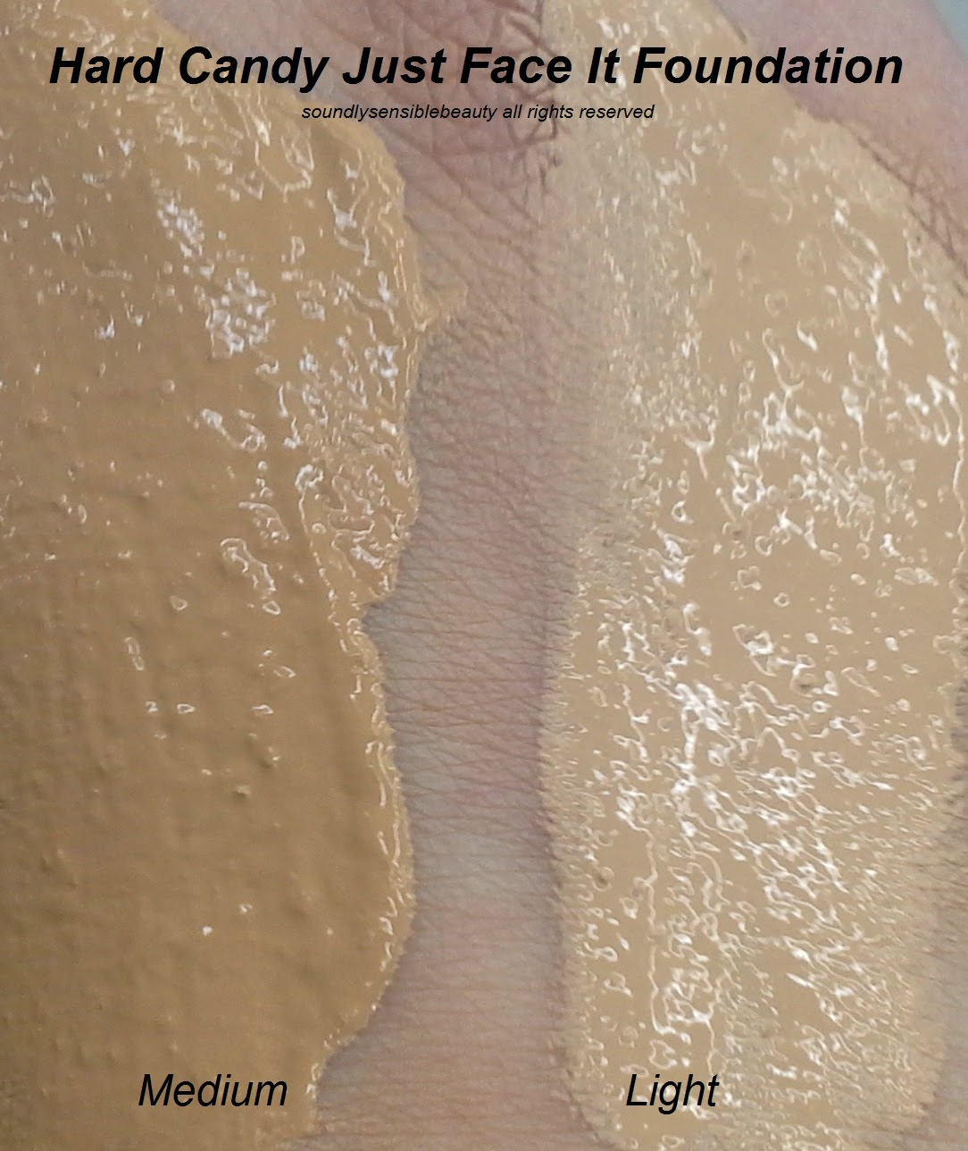 Hard Candy Just Face It 4-in-1 Foundation; Review & Swatches of Shades Light & Medium