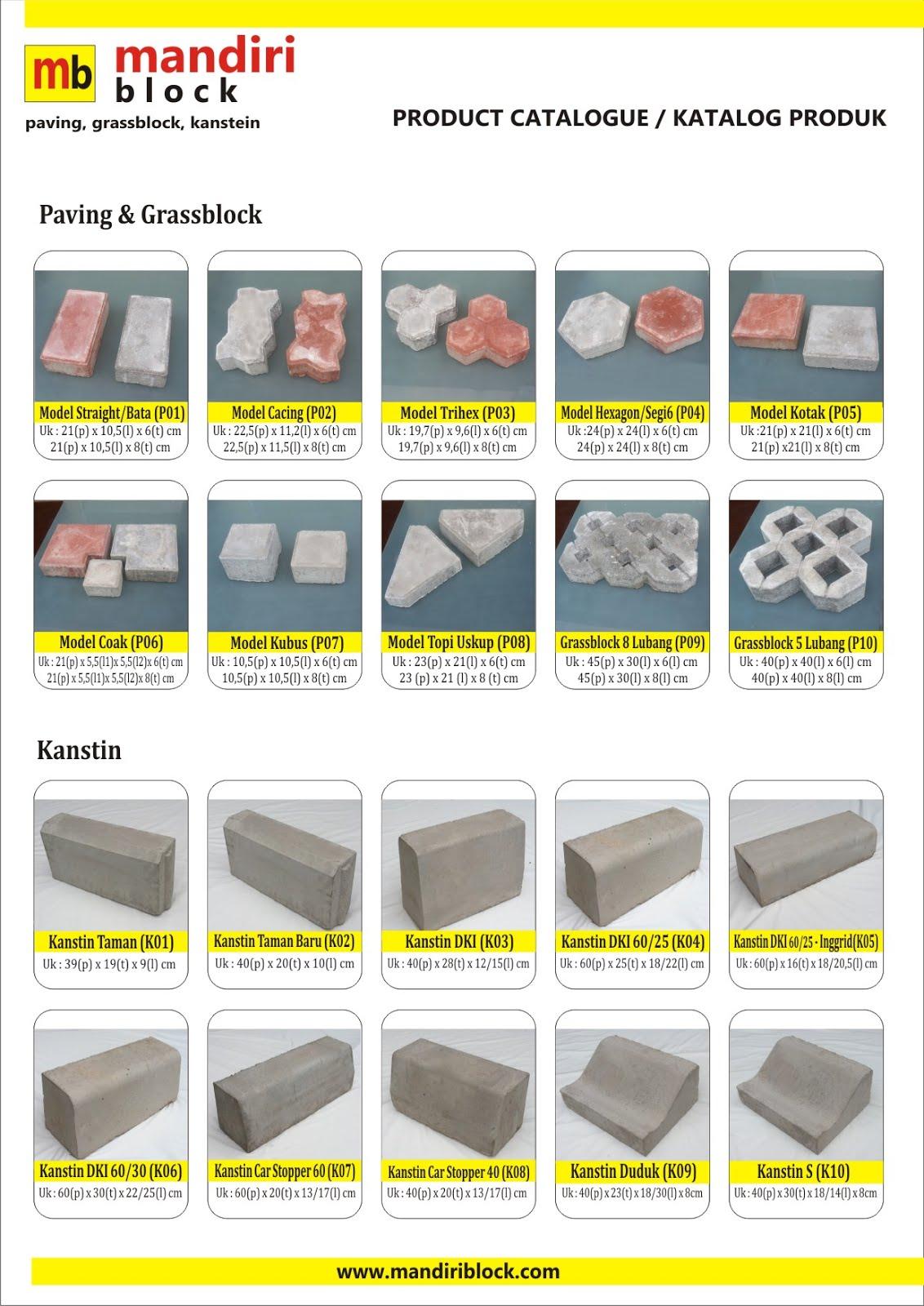 Mandiri Block - Price List Paving Block , Grassblock , Conblock , Kanstein , Konblock , Kanstin