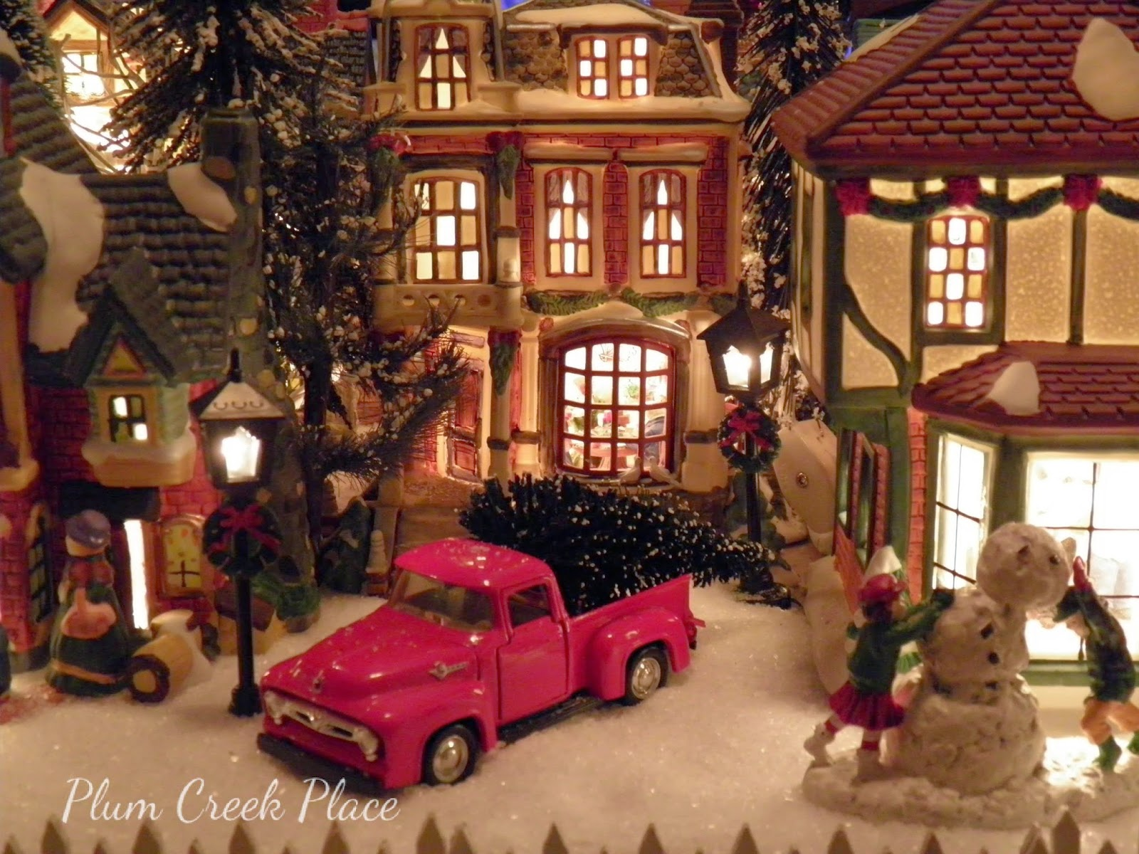 Christmas Village Tablescape with a 1956 Ford truck
