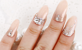 Elegant Pink Nail Tips, Glitter and Stone nail art
