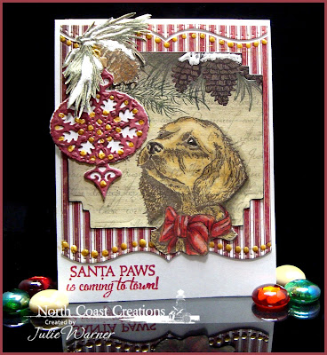 Stamps - North Coast Creations Santa Paws, Our Daily Bread Designs Christmas Paper Collection 2013, ODBD Custom Fancy Ornament Dies, Our Daily Bread Designs Pine Cone Singles
