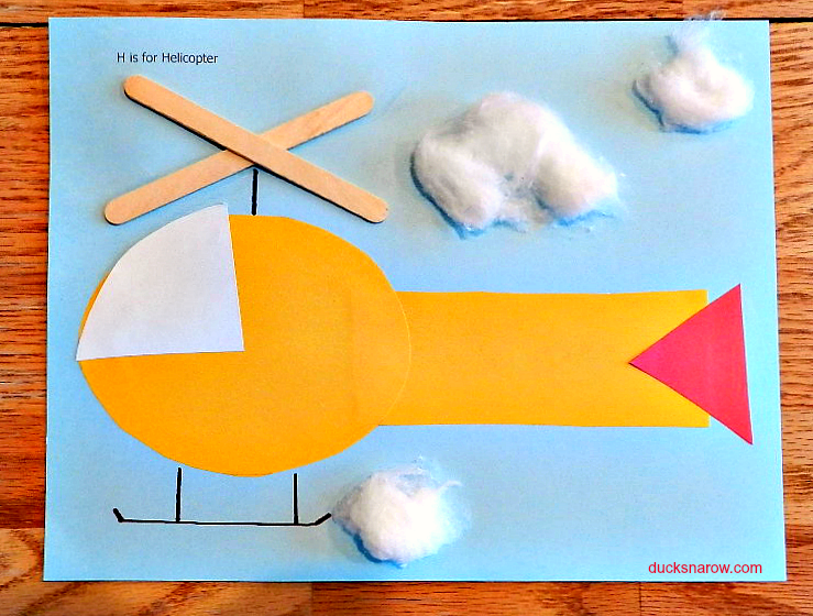 ducks n a row h is for helicopter preschool craft