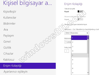 Windows 8 İmleç Kalınlaştırma