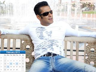 Salman Khan Desktop Calendar 2013