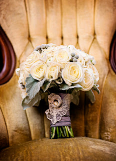 Roses and lace bridal bouquet by Laurel's Floral Design - Kent Buttars, Seattle Wedding Officiant