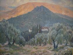 Portón de los Leones (Jaén)-Óleo del pintor jiennense Rufino Martos