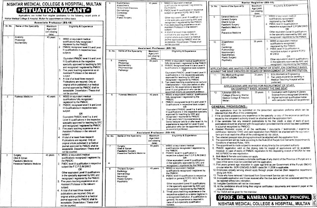 Doctors Jobs in Nishtar Medical College & Hospital Multan