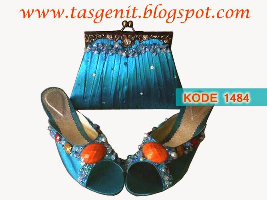 sandal pesta wanita, sandal pengantin, clutch bag behel
