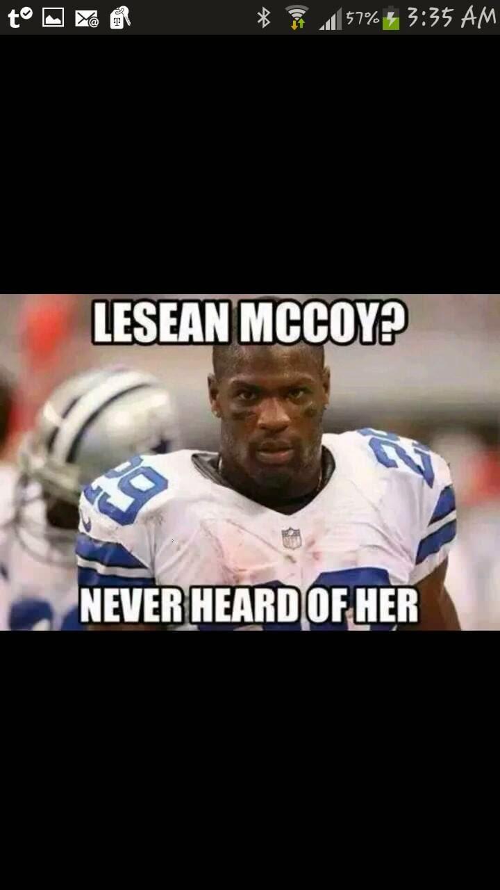 lesean mccoy? never heard of her. #Cowboys #neverheardofher #LeseanMccoy