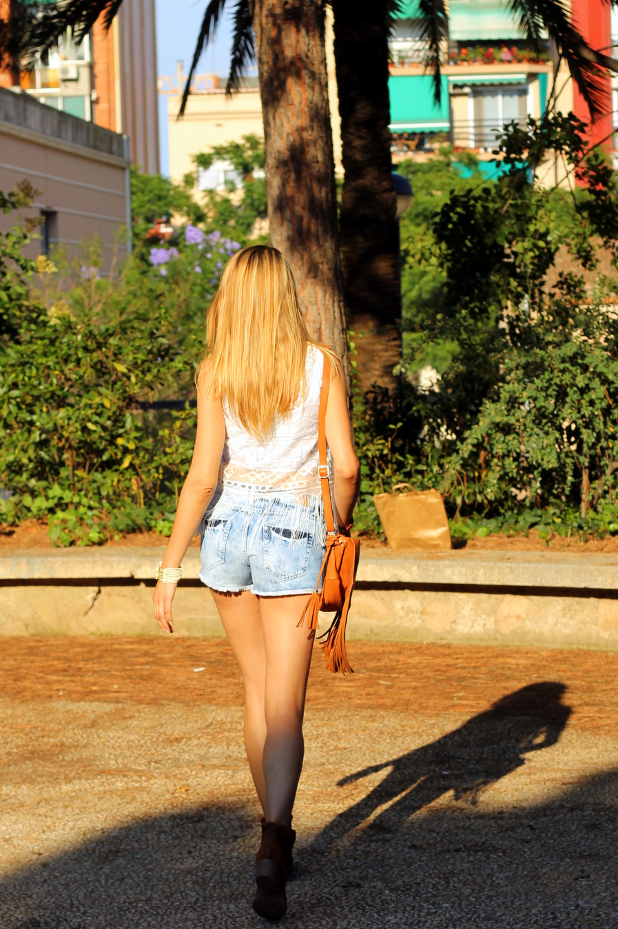 Shorts denim tipo boho