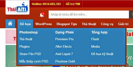 Menu Blogspot CSS chuyên nghiệp giống ThaiAiTi.com