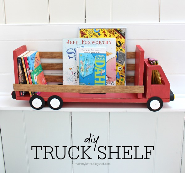 diy truck shelf with books