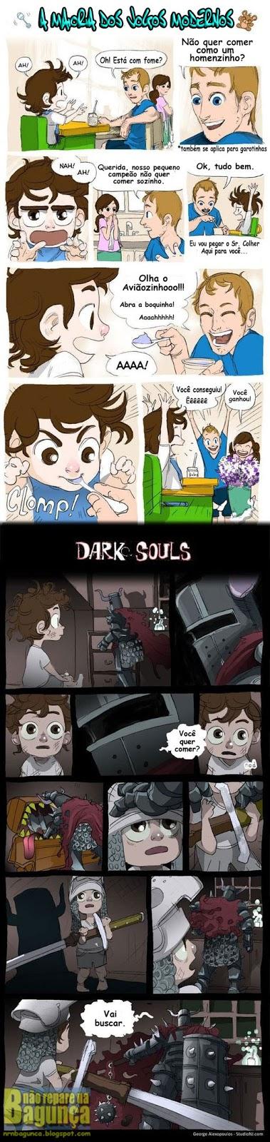 Dark Souls vs. Jogos Modernos