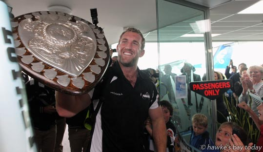 Mike Coman, captain, Hawke's Bay Magpies rugby team, returning to Hawke's Bay Airport, Napier, with the Ranfurly Shield, after beating Otago 20-19 in Dunedin on Sunday photograph