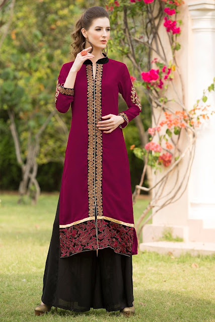 Magneta & Black Georgette Embroidered Kurti