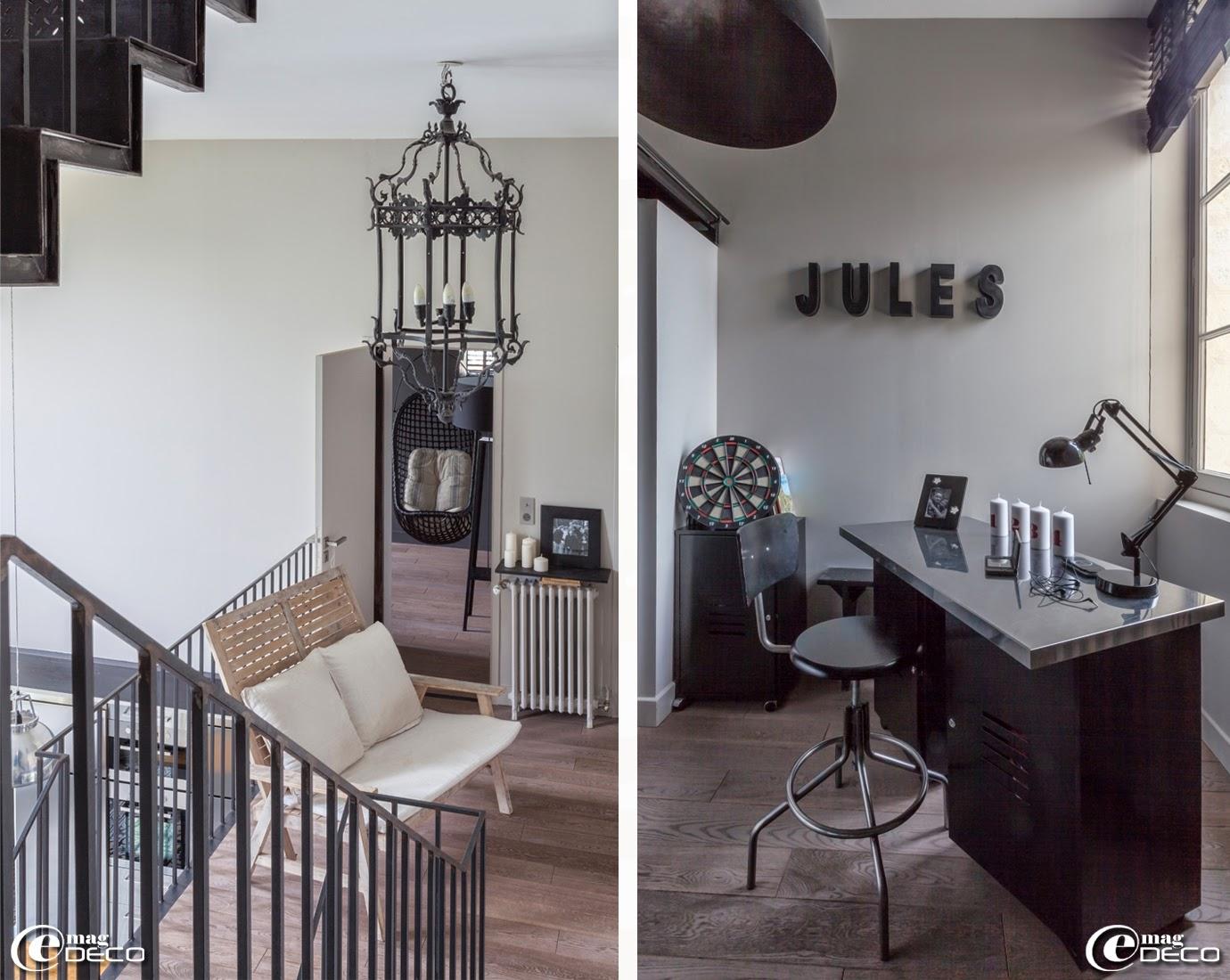 Escalier XXL en acier créé par 'Atelier de Steel', suspension 'Flamant'. Dans une chambre, bureau réalisé à partir de deux caissons métalliques 'Fly' et un plateau 'Ikea', chaise pivotante 'AM.PM.'