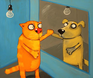 Cat looking in mirror, sees not himself but dog. Who is real? Drawings, funny pictures, comics