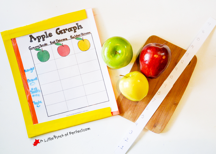 apple graph math activity and printable