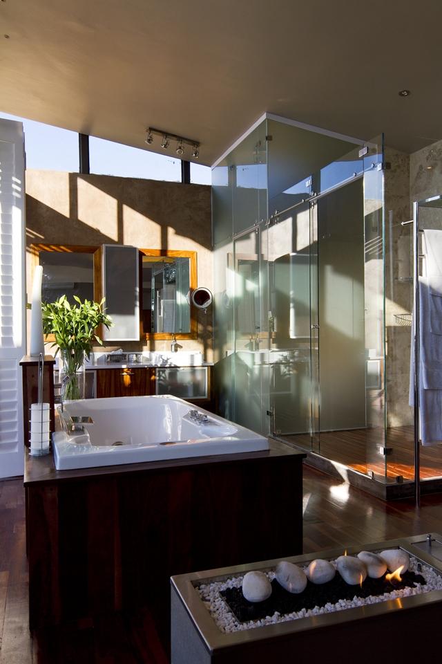 Modern bathroom with wooden furniture