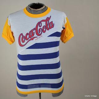 80s COCA COLA Coke Stripe t shirt SMALL Vtg Thin Pop Soda