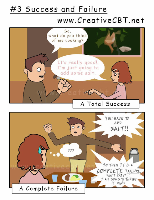 CBT comic Success and Failure, All or Nothing Thinking
