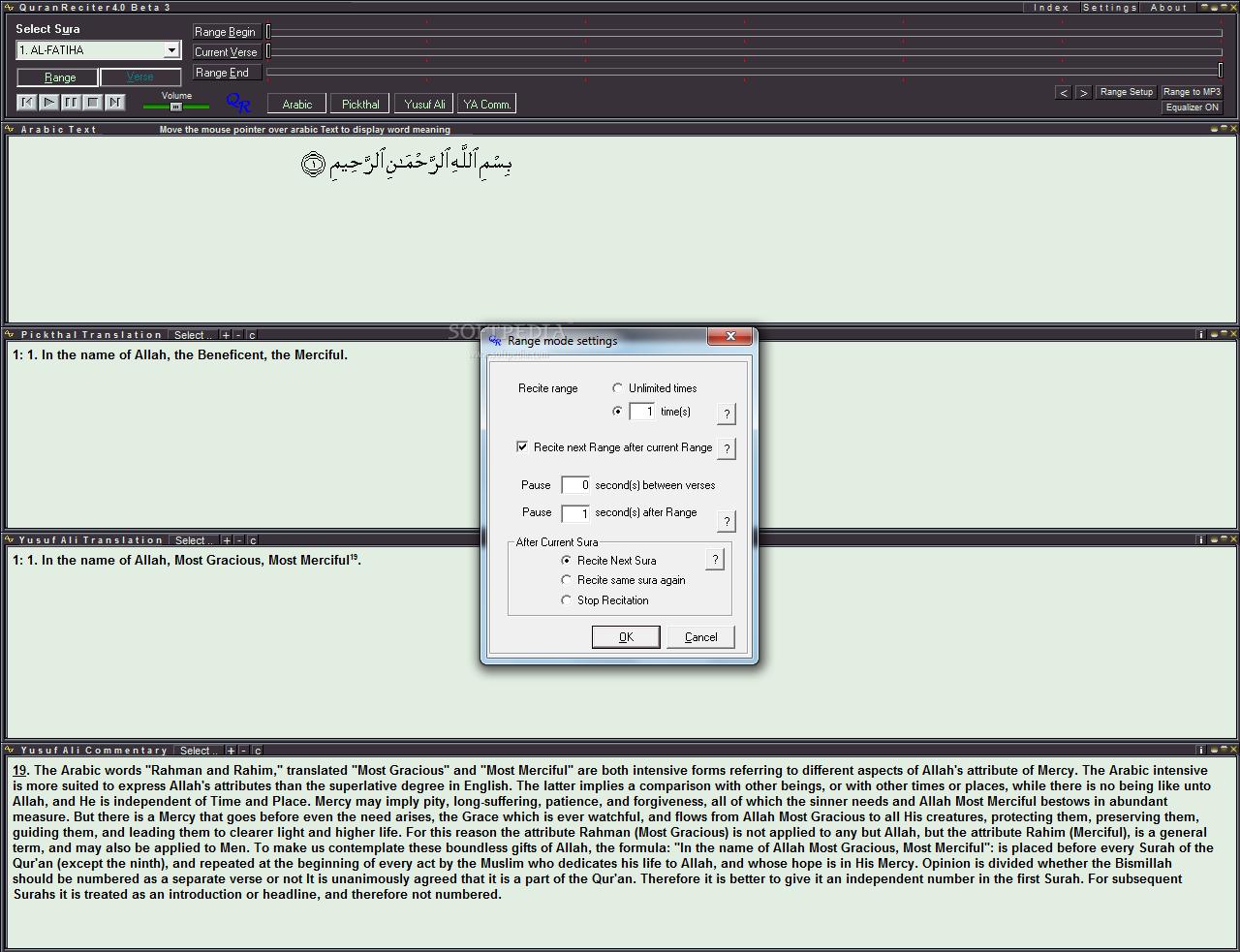 تحميل برنامج مجاني للقران الكريم مع التفسير QuranReciter 4.0