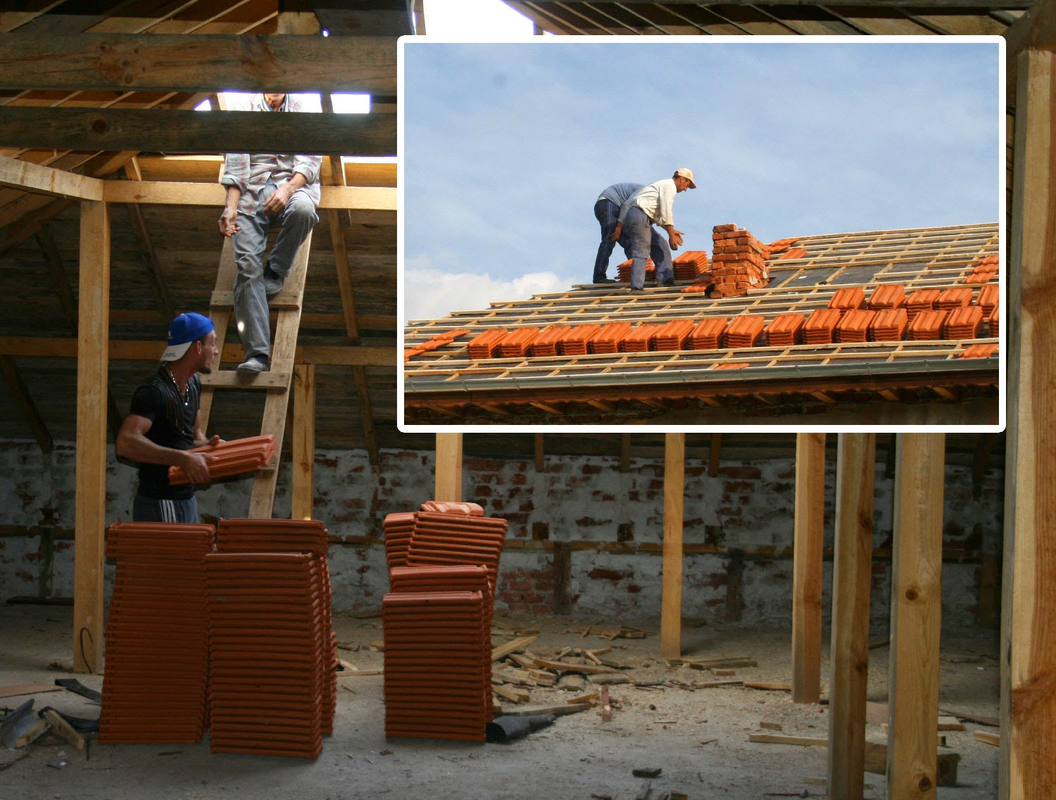 The tiles go onto the roof