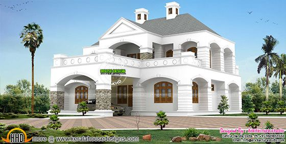 Sloping roof + colonial mix home