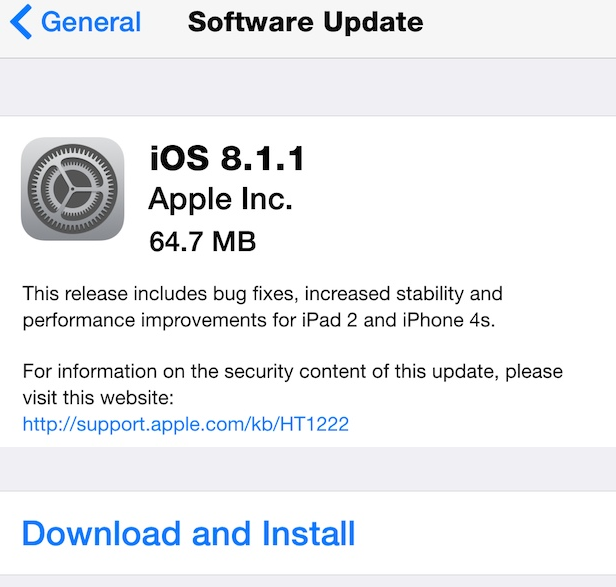 Apple iOS 8.1.1 Features and Changes