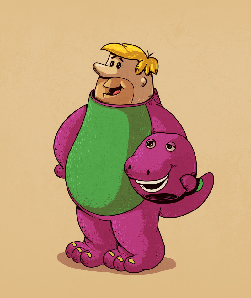 08-Barney-Rubble-The-Flintstones-and-Barney-the-Dinosaur-Alex-Solis-Illustrations-of-Icons-Unmasked-www-designstack-co