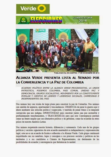 ACUERDO POLÍTICO ENTRE LA ALIANZA VERDE y OTROS SECTORES DE IZQUIERDA