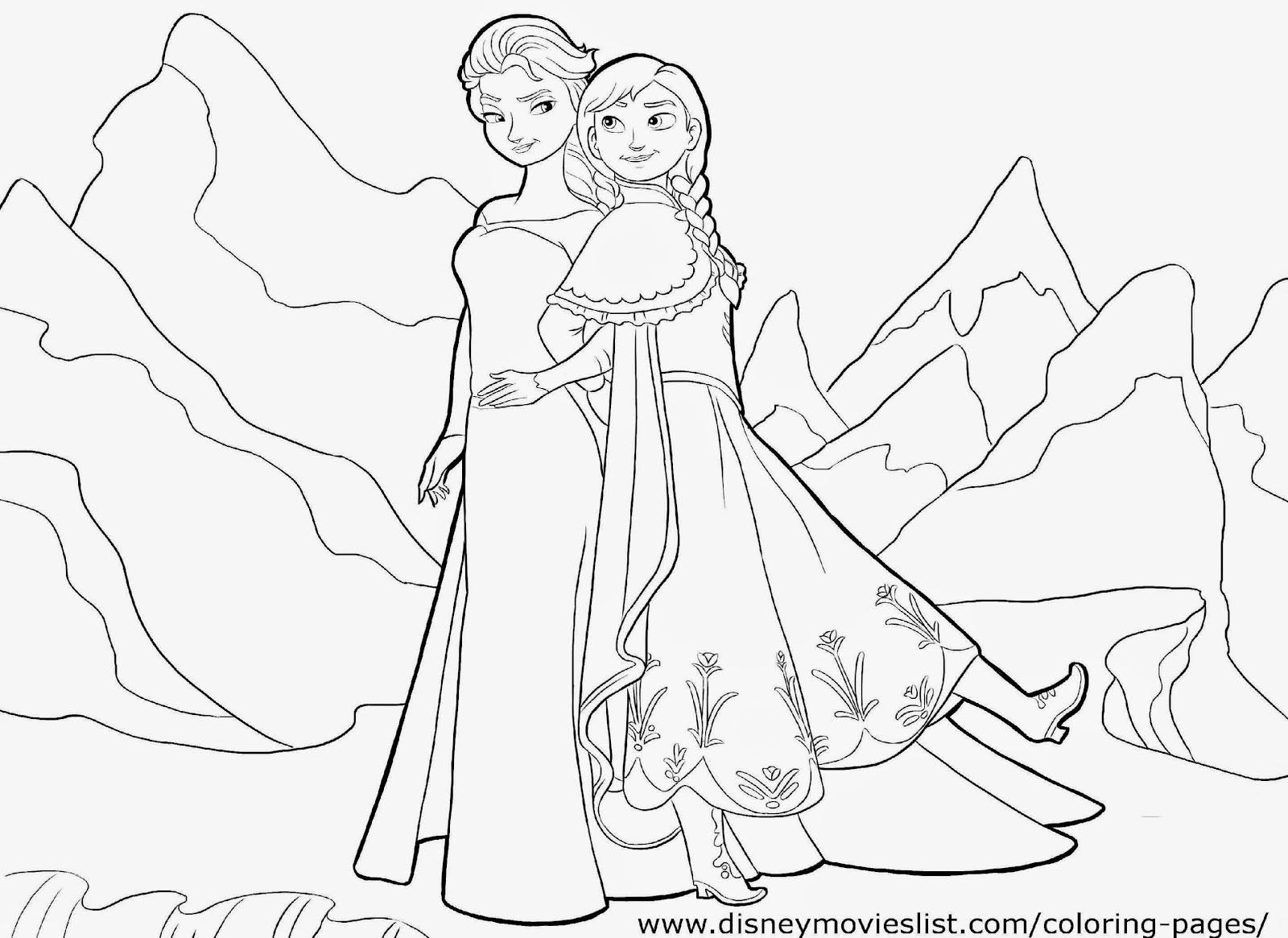 December 2014 free coloring sheet for Frozen coloring pages anna and elsa