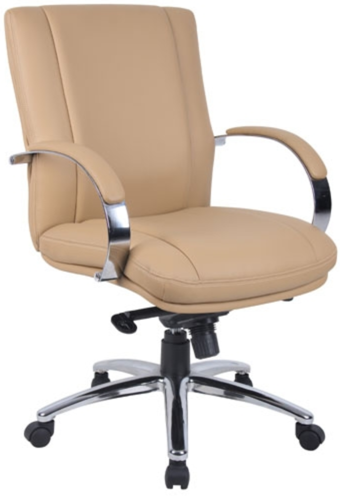 Tan Leather Swivel Chair by Boss