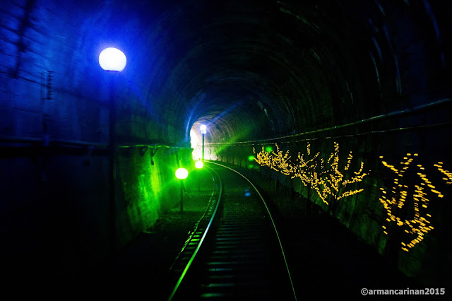 Inside the tunnel of the rail bike site