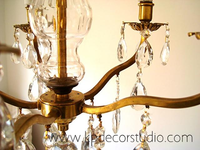 Lámparas vintage con lágrimas de los años 30 restauradas y electrificadas, casquillos y portalámparas nuevos