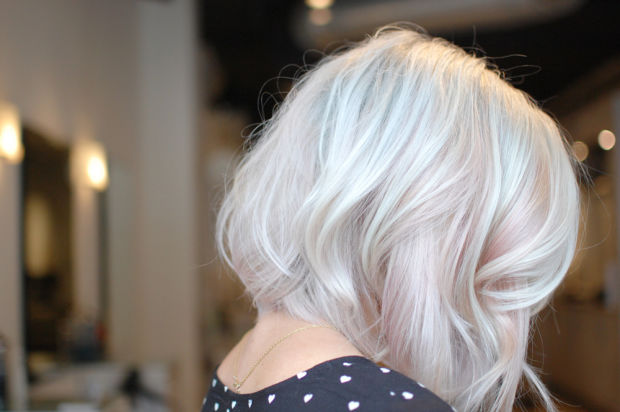 blond white pink hair lob bob