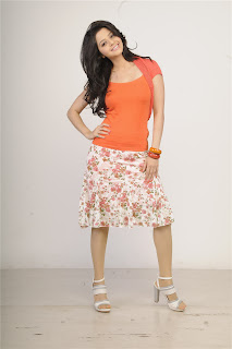 Vedika Spicy Pictureshoot in Orange Top and FLoral white Skirt