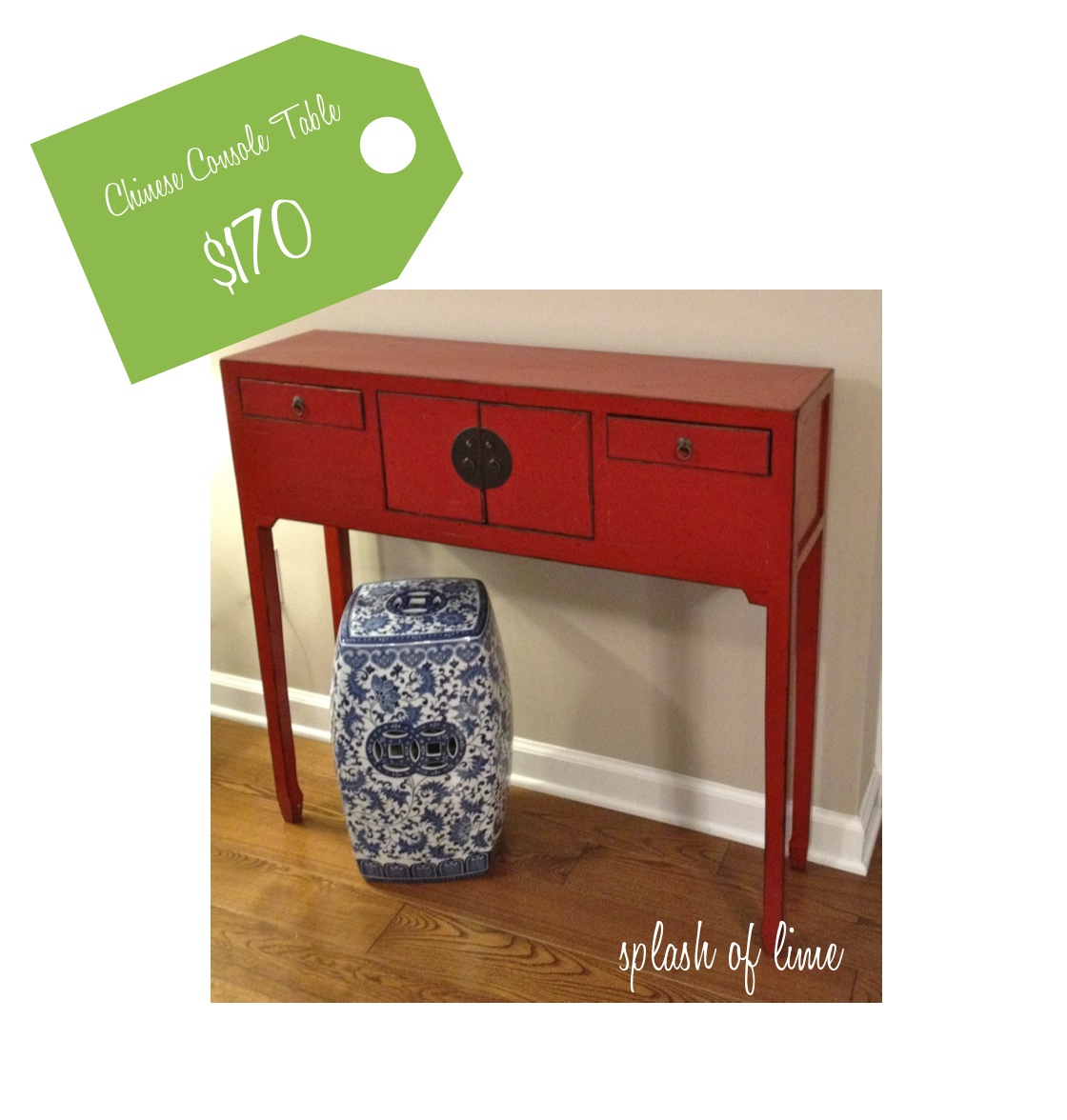 Splash of lime weekend find chinese console table similar pieces from oriental furniture exporters and antique dealers generally sell for at least 500 if not more you can imagine how thrilled i was when geotapseo Gallery