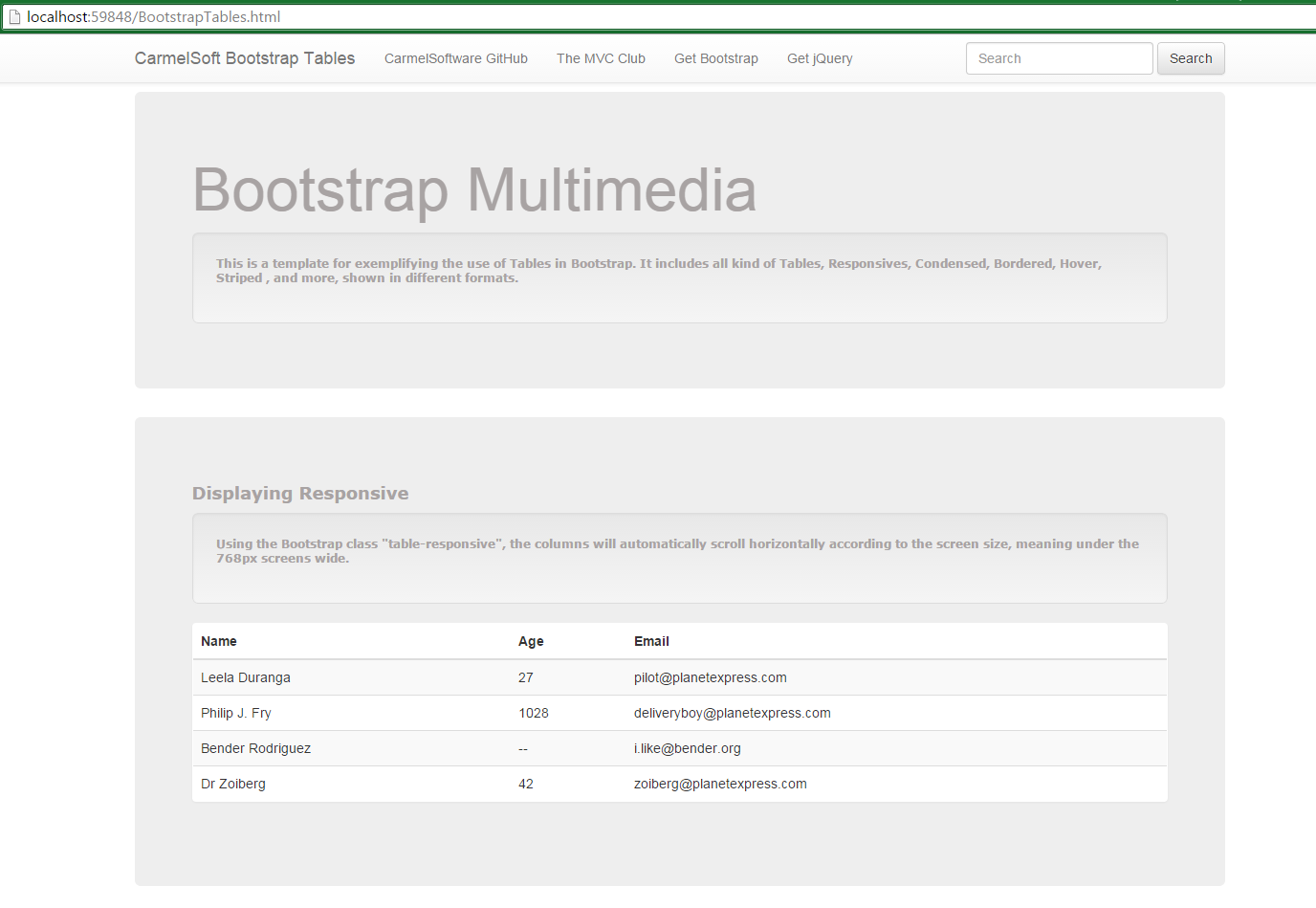The asp net mvc club bootstrap tutorial lesson 11 for Bootstrap table example