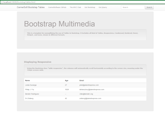Bootstrap Tutorial Lesson 11 - Responsive Tables   1