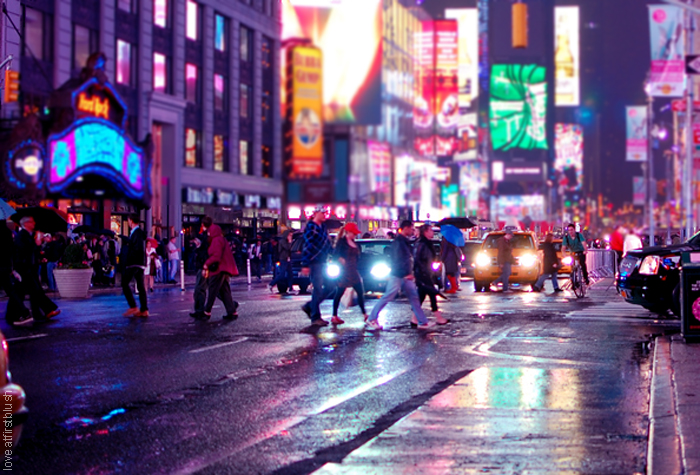 Bright lights of New York city after the rain