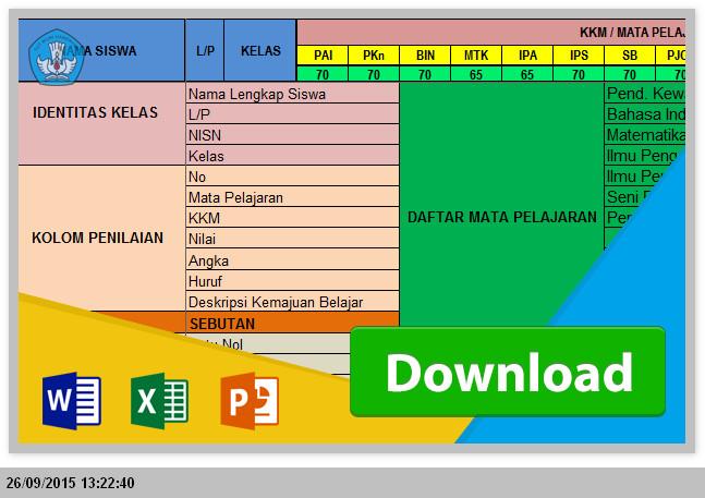 Aplikasi Raport KTSP SD - Mengisi serta Menghitung Nilai Siswa dengan Excel