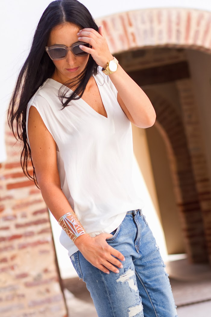 White Blouse and cut out cuff