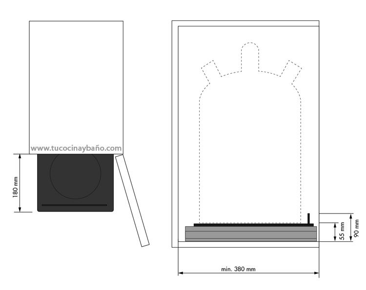 medidas base bombona butano mueble cocina