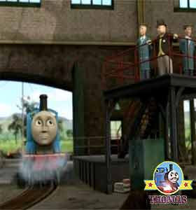 Steam train Edward the tank engine and Sir Topham Hatt in the really useful Sodor railway steamworks