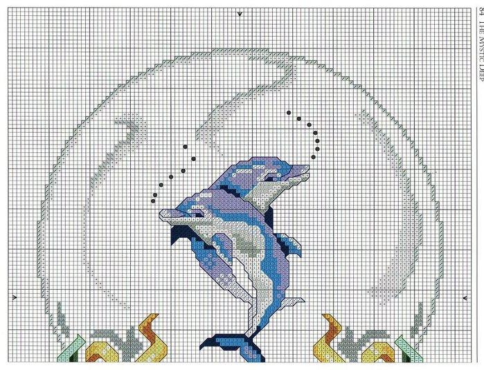 Вышивка дельфины гладью 69
